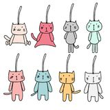 Hand Drawn Set Of Cute Cat Keychain. Vector Illustration eps.10 Royalty Free Stock Photo