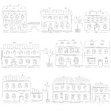 Hand drawn set of cute retro houses Stock Photography
