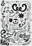 Hand drawn set of design elements Royalty Free Stock Images