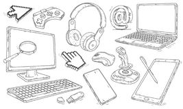 Hand drawn set of devices and workplace elements. Vector illustration. royalty free stock images