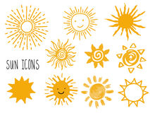 Hand drawn  set of different suns icons isolated on white. Stock Photography