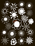 Hand drawn set of different suns isolated. Vector Stock Image