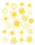Hand drawn set of different suns isolated. Vector illustration. Elements for design Royalty Free Stock Images