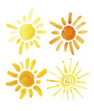Hand drawn set of different suns isolated. Vector Stock Photography