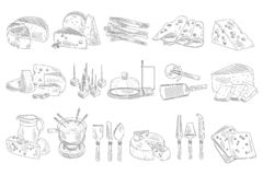 Hand drawn set of different types of cheese. Organic and fresh dairy products. Realistic sketch style icons. Monochrome stock illustration