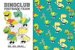Hand drawn set of dinosaur football with pattern royalty free illustration