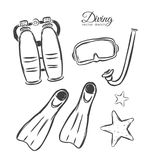 Vector illustration: Hand drawn set of Diving elements. Sketch design. Hand drawn set of Diving elements. Sketch design Royalty Free Stock Photos