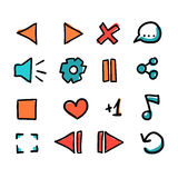 Hand drawn set of doodle media player icon. Royalty Free Stock Photo