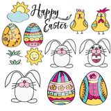 Hand drawn set of Easter design elements. Perfect for holiday d. Hand drawn set of Easter design elements. Eggs, chicken, bunnyt, sun, clouds. Perfect for stock illustration