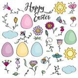 Hand drawn set of Easter design elements. Perfect for holiday d. Hand drawn set of Easter design elements. Eggs, sun, cloud, flowers. Perfect for holiday stock illustration