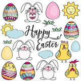 Hand drawn set of Easter design elements.  Perfect for holiday d. Hand drawn set of Easter design elements. Eggs, chicken, bunny, sun, clouds. Perfect for Royalty Free Stock Images