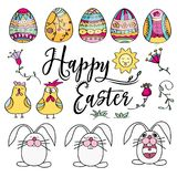 Hand drawn set of Easter design elements. Perfect for holiday d. Hand drawn set of Easter design elements. Eggs, chicken, bunny, sun, cloud, flowers. Perfect for royalty free illustration