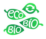 Hand drawn set of Eco labels. Ecology Inscriptions on leaf. Stock Images