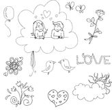 Hand drawn set elements for Valentines day Stock Photos