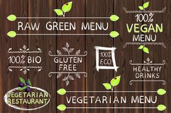 Hand drawn set of elements on wood. Raw, vegetarian and vegan menu. Vegetarian restaurant. Eco, gluten free, 100 bio. Hand drawn set of elements on brown wooden Stock Image