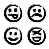 Hand drawn set of emoji Stock Photos