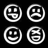 Hand drawn set of emoji Stock Image