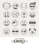 Hand drawn set of Emoticons Stock Photos