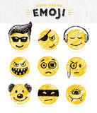 Hand drawn set of Emoticons. Royalty Free Stock Photo