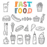 Hand drawn set of fast food. Collection of various sketches food Royalty Free Stock Images