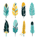 Hand drawn set of feathers Royalty Free Stock Image