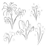 Hand drawn set of fireworks. Curly swishes, swashes, swoops. Doodle swirl. Isolated vector illustration on white background royalty free illustration