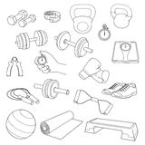 Hand drawn set of fitness accessories. Dumbbells, Royalty Free Stock Image