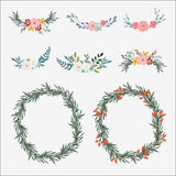 Hand drawn set of floral bouquets and wreath with olive leaves, roses, peonies and other flowers.  vector Royalty Free Stock Photography