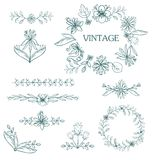 Hand drawn set of flower elements. Royalty Free Stock Photos