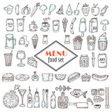 Hand drawn set of food icons. Set of various doodles, hand drawn Royalty Free Stock Images