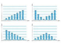Hand drawn set of four blue bar charts Stock Images