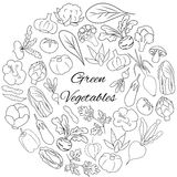 Hand drawn Set with fresh vegetables. Hand drawn round vector set with fresh vegetables Royalty Free Stock Image