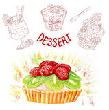 Hand drawn set with fruit dessert Royalty Free Stock Image