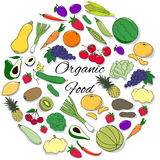 Hand drawn Set with fruits, vegetables and berries. Hand drawn colorful round  set with fruits, vegetables and berries Stock Photography