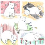 Hand drawn set of funny lazy white cats royalty free illustration