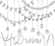 Hand drawn set of garlans, jars, plants elements and lettering. Stock Images