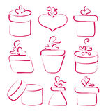 Hand drawn set gift boxes for your anniversary Royalty Free Stock Images