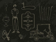 Hand drawn set golf club collection Stock Photography