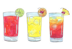 Hand drawn set of graphic watercolor cocktails Sea Breeze Harvey. Wallbanger Planter`s Punch on white background Stock Images