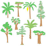 Hand Drawn Set of Green Trees Royalty Free Stock Photography