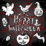 Hand drawn set of halloween attributes, black and white sketch on a red web Royalty Free Stock Image