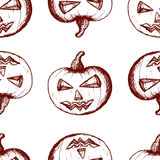 Hand drawn set of halloween attributes, vinous pumpkins on a white background. Seamless pattern, hand drawn set of halloween attributes, vinous pumpkins on a Stock Images
