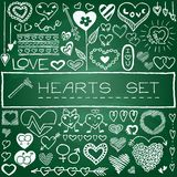 Hand drawn set of hearts and arrows Stock Photo