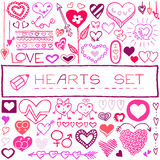 Hand drawn set of hearts and arrows Royalty Free Stock Photo