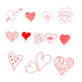 Hand drawn set of hearts. Vector illustration for Valentine`s day. Elements for design Stock Photo