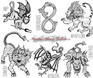 Hand drawn set with heraldic beasts and mythical monsters isolated on white. Graphic vector illustrations. Engraved line art drawing of imp, ouroboros, chimera Royalty Free Stock Photo