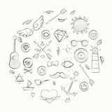 Hand drawn set of hipster elements over beige Stock Photography