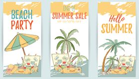 Hand drawn set of holiday banners. Summer vector illustration of umbrella, palm, shell, travel bag, sunglasses, hat can be used as invitation, postcard, menu Royalty Free Stock Image