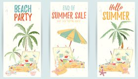 Hand drawn set of holiday banners. Summer vector illustration of umbrella, palm, shell, travel bag, sunglasses, hat can be used as invitation, postcard, menu Stock Images