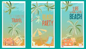 Hand drawn set of holiday banners. Summer vector illustration of umbrella, palm, shell, travel bag, sunglasses, hat can be used as invitation, postcard, menu Stock Photo